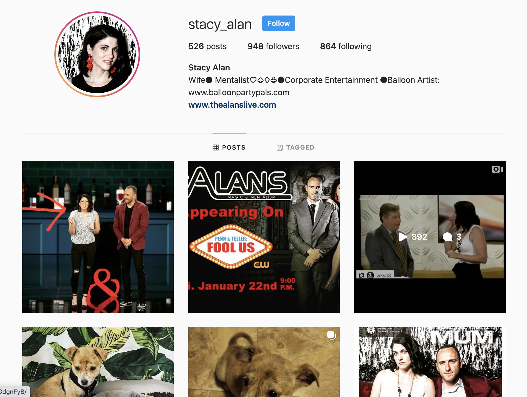 Mentalist Stacy Alan Instagram